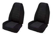 Materiałowe pokrowce na przednie fotele, czarne : 97-02 Jeep Wrangler TJ