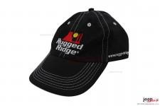 Czapka z daszkiem, logo Rugged Ridge, czarna z białym ściegiem, RuggedRidge.com
