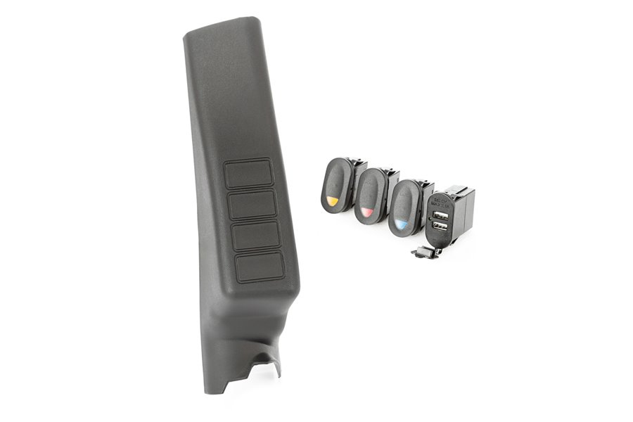 A-Pillar Pod Kit, 3 Switch, Dual USB Connector : 11-17 Wrangler JK/JKU