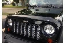 Siatka ochronna grilla, Chromowana : 07-17 Jeep Wrangler JK