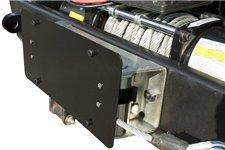 Mocowanie tablicy rejestracyjnej na prowadnicę wyciągarki, lina stalowa