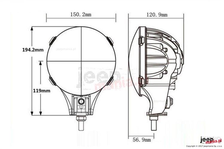 Para Lamp LED z funkcją DRL, mocowane na trzpień : 60 W, 6 cali, okrągłe