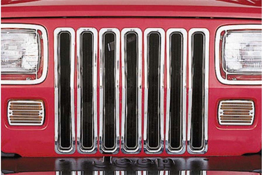 Wkładki grilla, Chromowane : 87-95 Jeep Wrangler YJ