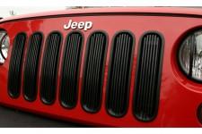 Wkładki grilla z aluminiowymi lamelkami, czarne | 07-17 Jeep Wrangler
