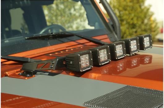 """3"""" kwadratowe lampy LED z mocowaniem – zestaw 5 sztuk : 07-17 Jeep Wrangler JK"""