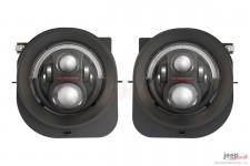 Lampy przednie LED, model Evolution 2R, czarne : 14-18 Jeep Renegade BU