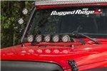 """Zestaw - mocowanie na maskę, czarna tekstura,  5 sztuk 3,5"""" okrągłych lampy LED : 07-17 Jeep Wrangler JK"""