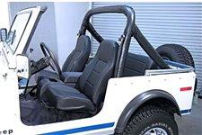 Przednie siedzenie z wysokim oparciem, bez regulacji, czarne : 76-02 Jeep CJ/Wrangler YJ/TJ