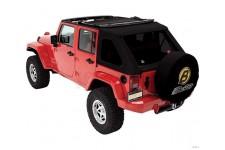 Dach miękki, Trektop™ NX Twill, poszycie do Trektop NX, Czarny Twill (Black Twill) : 07-18 Jeep Wrangler Unlimited JK 4 drzwiowy