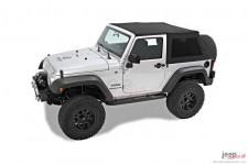 Dach miękki, Trektop™ NX Twill, poszycie do Trektop NX, Czarny Twill (Black Twill) : 07-18 Jeep Wrangler JK 2 drzwiowy