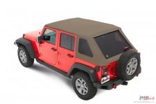 Dach miękki, Trektop™ NX Plus™ Twill, Piaskowo Beżowy (Pebble Beige) : 07-18 Jeep Wrangler Unlimited JK 4 drzwiowy