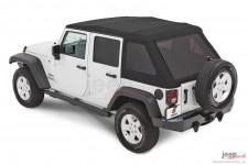 Dach miękki, Trektop™ NX Glide™ Twill, Czarny Twill (Black Twill) : 07-18 Jeep Wrangler Unlimited JK 4 drzwiowy