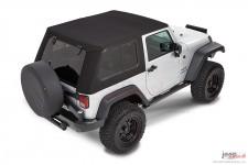 Dach miękki, Trektop™ Pro Hybrid, Czarny Twill (Black Twill) : 07-18 Jeep Wrangler JK 2 drzwiowy