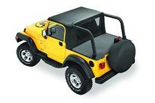 Dach miękki, Halftop, wymaga fabrycznego stelaża, Czarny Dżinsowy (Black Denim) : 97-02 Jeep Wrangler TJ