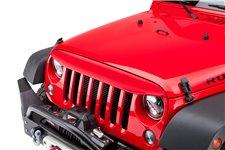 Nakładka na grill, brewka świateł przednich, seria NightHawk, Flame Red : 07-18 Jeep Wrangler JK