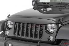 Nakładka na grill, brewka świateł przednich, seria NightHawk, Black : 07-18 Jeep Wrangler JK