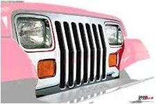 Grill i wkładki świateł przednich, styl fabryczny, stal nierdzewna : 87-95 Jeep Wrangler YJ