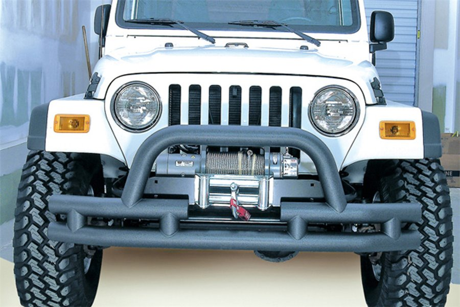 Double Tube Front Winch Bumper with Hoop, 3 Inch : 76-06 Jeep Models