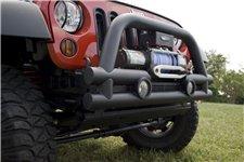 Zderzak przedni rurowy z miejscem na wyciągarkę, 3-calowy, Czarny, 07-16 Jeep Wrangler