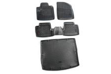 Floor Liners, Kit, Black, Front/Rear/Cargo : 14-17 Jeep Cherokee KL