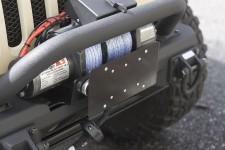 Mocowanie tablicy rejestracyjnej na prowadnicę wyciągarki, lina syntetyczna