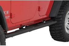 4 1/4″ progi rurowe owalne boczne, czarne teksturowane : 07-17 Jeep Wrangler Unlimited JKU 4 drzwiowy