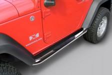 """3"""" progi rurowe boczne, Stal nierdzewna, 07-15 Jeep 2-Drzwiowy Wrangler JK"""