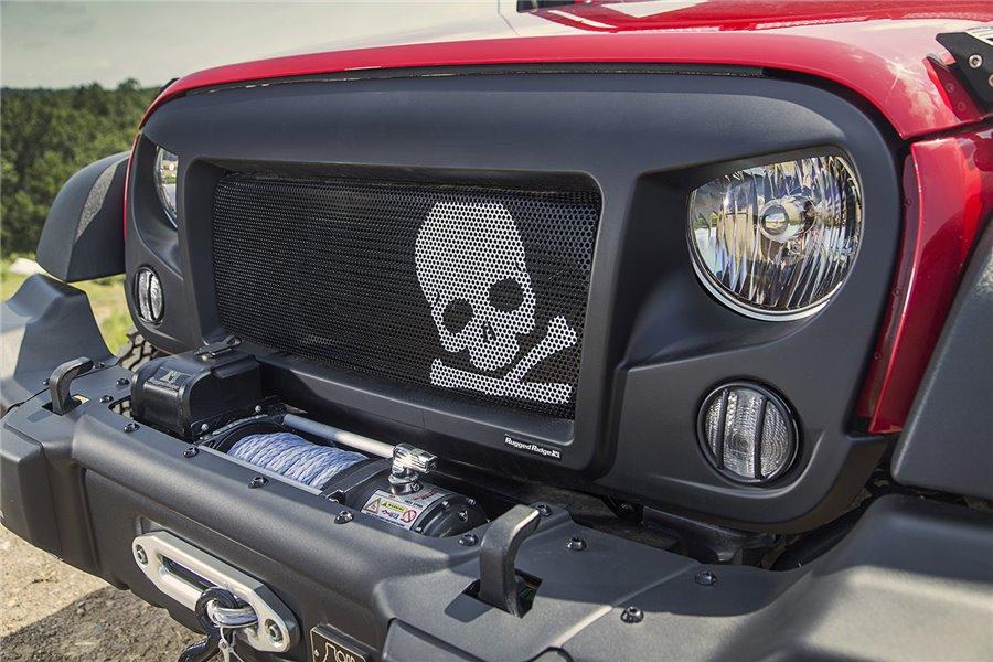 Spartan Grille Insert, Skull, 07-16 Jeep Wrangler JK