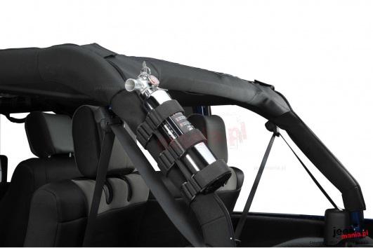 Uchwyt na gaśnicę, mocowany do orurowania, Czarny, 55-16 Jeep CJ i Wrangler
