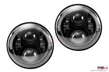 Lampy przednie LED, model BLADE : HOMOLOGACJA E9, EU, RHT, DRL pół HALO, 7 calowe, para