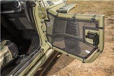 Siatki rurowych drzwi połówkowych, przednia para drzwi, czarne : 07-17 Jeep Wrangler JK/JKU