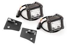 Zestaw: Mocowanie świateł na słupku, 2 x CUBE COMBO LED, czarna tekstura: 07-17 Jeep Wrangler JK