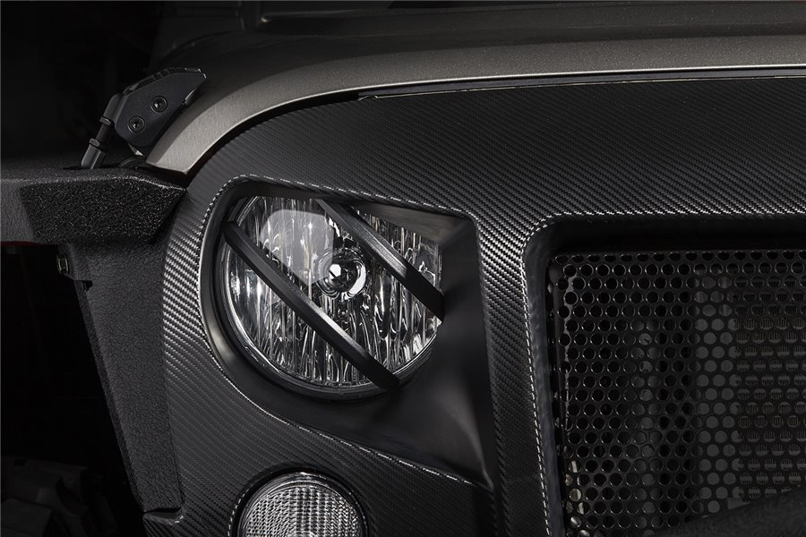 Elite, Pivotal Headlight Euro Guard, Blk : 07-17 Jeep Wrangler JK