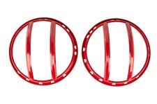 Osłony lamp przednich serii Elite, model Pivotal - regulowany kąt montażu, czerwone : 07-17 Jeep Wrangler JK