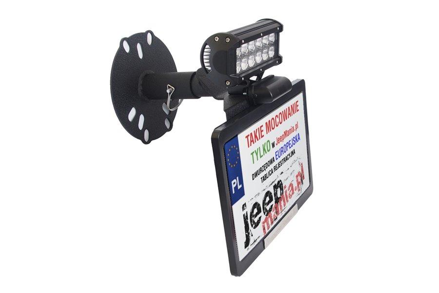 Mocowanie tablicy rejestracyjnej na kole zapasowym : dodatkowa lampa robocza LED jako opcja