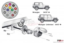 Wiązka elektryczna do haka holowniczego, dedykowana, 13-PIN : Jeep Wrangler JK
