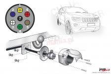 Wiązka elektryczna do haka holowniczego, dedykowana, 7-PIN : Jeep 2013+ Grand Cherokee WK2