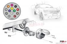 Wiązka elektryczna do haka holowniczego, dedykowana, 13-PIN : Jeep 2013+ Grand Cherokee WK2