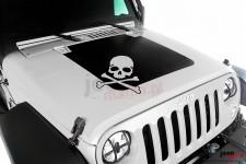 Ozdobna naklejka na maskę, czaszka : 07-17 Jeep Wrangler JK/JKU