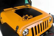 Ozdobna naklejka na maskę, Hibiscus : 07-17 Jeep Wrangler JK/JKU