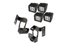Zestaw oświetlenia na słupek A, 2 podwójne mocowania, czarne półbłysk, 4 lampy LED, kwadratowe : 07-17 Jeep Wrangler JK