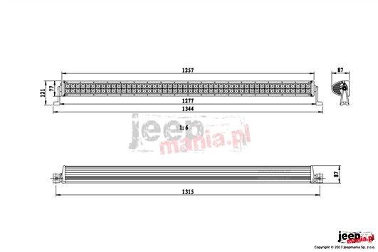 LED Bar 288W, 50 inches : E-MARK, SPOT beam, LED Cree, 1277mm