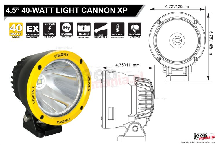 """Lampa LED serii CANNON, model XP Xtream Performance : 4.5"""", 45W, 1115Lm"""