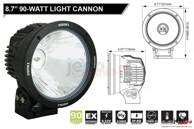 "Lampa LED serii CANNON : 8.7"", 90W, 3280 lumenów"