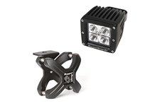 Oświetlenie z mocowaniem, kwadratowa lampa LED, uchwyt X-Clamp, 1 zestaw : do rur 2.25″-3″, czarny teksturowany, 1 x 18W