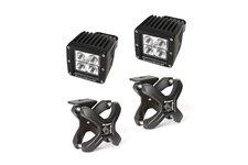 Oświetlenie z mocowaniem, kwadratowa lampa LED, uchwyt X-Clamp, 2 zestawy : do rur 2.25″-3″, czarny teksturowany, 2 x 18W