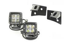 Zestaw oświetlenia, mocowanie na podszybiu, czarne, 2 kwadratowe lampy LED 3″ 18W : 07-17 Jeep Wrangler JK