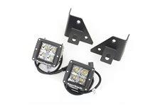 Zestaw oświetlenia, mocowanie na podszybiu, czarne, 2 kwadratowe lampy LED 3″ 18W : 76-95 Jeep CJ/Wrangler YJ