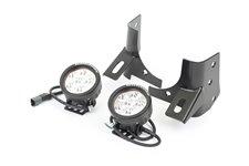 Zestaw oświetlenia, mocowanie na podszybiu, czarne, 2 okrągłe lampy LED 3.5″ : 97-06 Jeep Wrangler TJ
