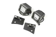 Zestaw oświetlenia, mocowanie na podszybiu, czarne teksturowane, 2 kwadratowe lampy LED 3″ 18W : 07-17 Jeep Wrangler JK